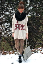 beige paris Ustrendy sweater - brown leopard print Forever 21 leggings