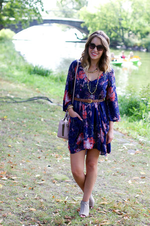 navy floral free people dress - tan franco sarto boots