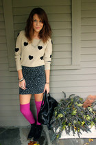 beige graphic Lauren Conrad sweater - black Dolce Vita boots - black H&M bag