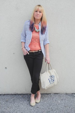 peach lace Forever 21 shirt - sky blue button down Forever 21 shirt
