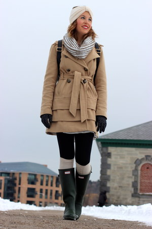 camel military Express coat - dark green rain Hunter boots