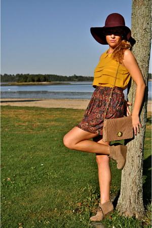 deep purple floppy hat H&M hat - mustard sheer Forever21 shirt