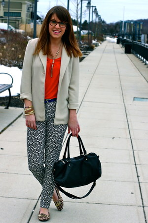 dark brown tortoise shell firmoo glasses - beige vintage blazer