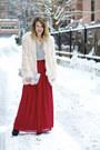 Light-pink-faux-fur-h-m-coat-silver-clutch-brahmin-bag