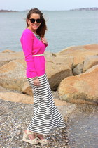 black striped maxi Forever 21 dress - hot pink neon Forever 21 sweater