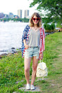 Sky-blue-american-eagle-shorts-red-cat-eye-free-people-sunglasses