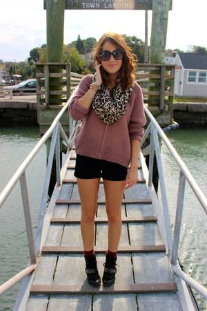 pink chunky knit Target sweater - brown animal print Aldo scarf