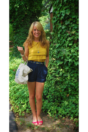 gold Forever 21 shirt - navy Forever 21 shorts - red H&M sandals