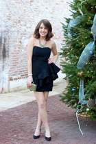 black strapless H&M dress - gold clutch H&M bag - black H&M heels