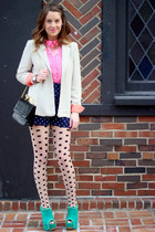 beige Goodwill blazer - beige polka dot south moon under tights