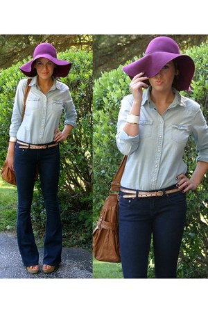 magenta floppy H&M hat - navy flared free people jeans