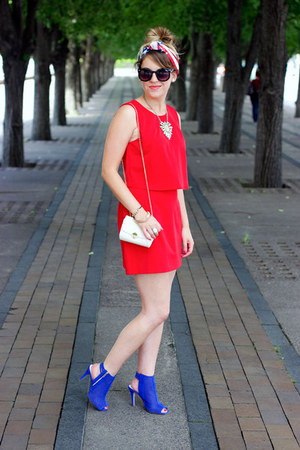 blue Macys boots - red Silence & Noise dress - white mini crossbody H&M bag