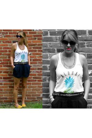 navy Forever 21 shorts - blue AJ Morgan sunglasses - white Billabong top