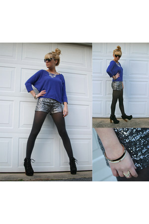silver sequined Forever21 shorts - black Bakers boots - blue Target shirt