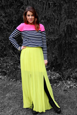 black Bakers boots - hot pink neon striped Gap sweater