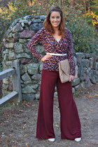 brick red wide leg Forever 21 pants - peach clutch Urban Outfitters bag
