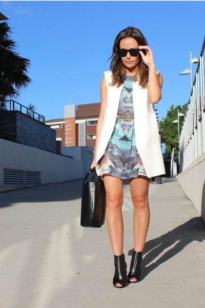 white vest Zara vest - Fifty-Bucks dress - mini tote Zara bag
