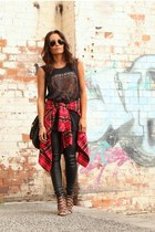 printed tank Tbar top - letherette RunwayScout pants - checker moussy skirt