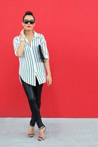 stripe shirt Romwecom shirt - wet look Lipsy leggings