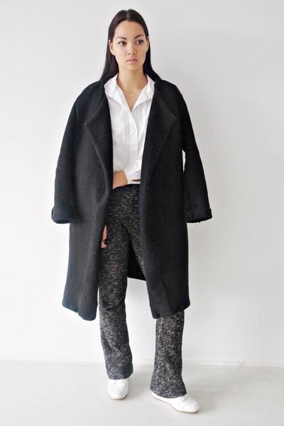 black wool DIY coat - gray wool H&M Trend pants
