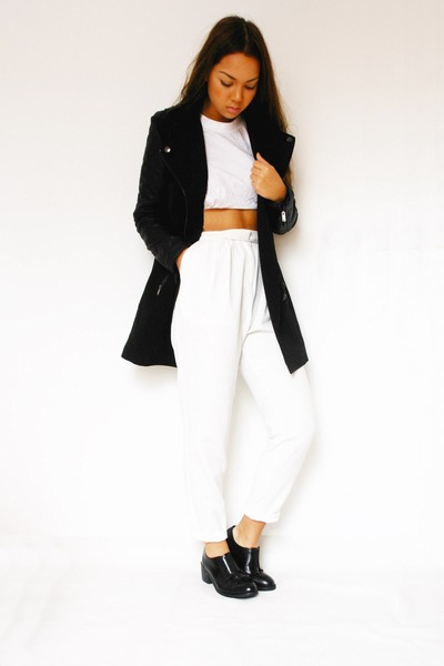 Loavies coat - Office shoes - Monki pants - DIY top