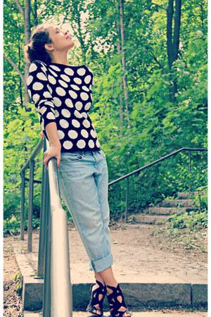 black polka dots asos jumper - sky blue boyfriend jeans H&M jeans
