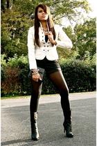 black calvin klein boots - black Chanel purse - black Forever21 shorts