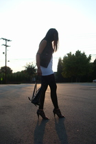 Bfs wifebeater top - FREEDOM vest - Forever21 leggings - ferragamo purse - Nine