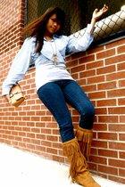 thrifted shirt - H&M top - Zara jeans - Guess purse - sam edelman boots