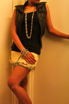 Forever21 top - FREEDOM vest - DIY Levis skirt - Vintage Versace necklace - Gues