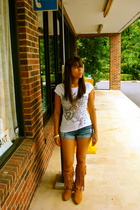 Zara t-shirt - Almost Famous shorts - sam edelman boots - vintage accessories
