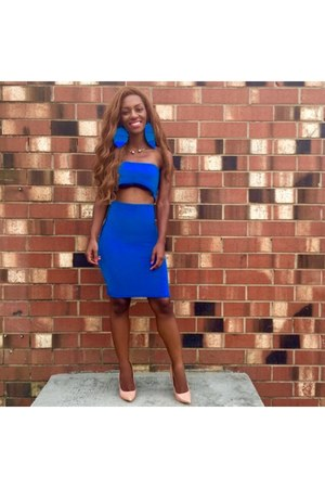 blue Style By Sheena Boutique skirt - tan shoe republic LA heels