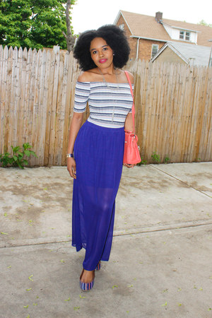 blue off shoulder asos top - blue American Eagle flats