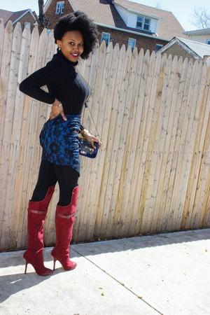 blue lace Macys skirt - crimson suede Shoedazzle boots