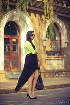 chartreuse asos shirt - black Zara skirt