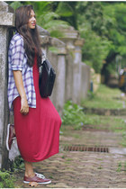 maroon Forever 21 shoes - ruby red choiescom dress - periwinkle Zara shirt