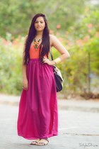 purple skirt - carrot orange H&M top