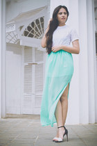 aquamarine Forever 21 skirt - black Zara heels - white Topshop top - earrings