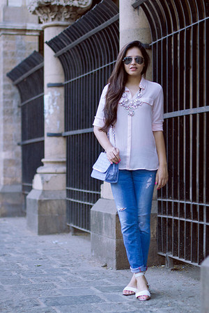 sky blue Mango jeans - light pink Mango shirt - periwinkle Colette bag