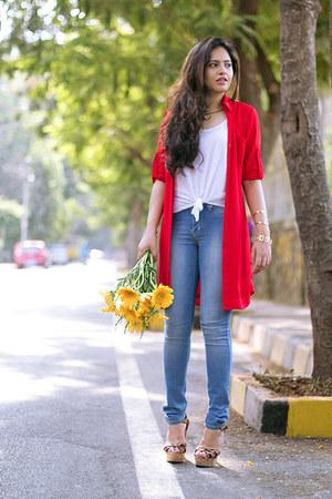 red Express jacket - sky blue Lee jeans - white Forever 21 vest