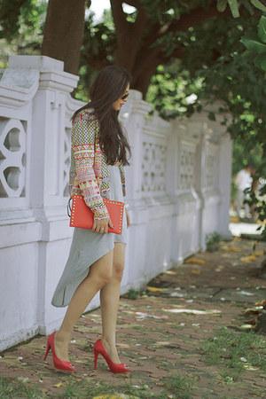 light yellow MartofChinacom blazer - heather gray Forever21 dress