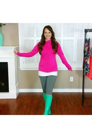 hot pink jacket - aquamarine boots - white dress - heather gray leggings