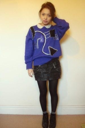 black vintage boots - black Zara skirt - ivory TK Maxx blouse