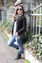 H&M scarf - black unknown brand boots - Zara jeans - Target shirt