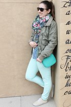 sky blue denim shirt Ralph Lauren shirt - olive green H&M jacket - Bershka scarf