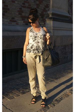white Stella McCartney top - beige vintage pants - black Givenchy shoes - black