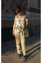 white Stella McCartney top - beige vintage pants - black Givenchy shoes - black