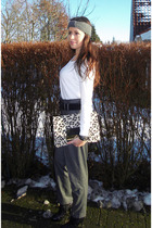 white H&M blouse - gray Zara pants - black Dorothy Perkins boots - beige Jimmy C