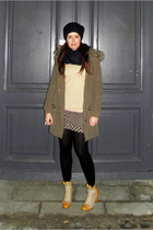 green Zara coat - brown Topshop dress - beige Uniqlo sweater - beige Modekungen