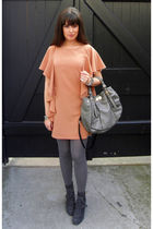 gray Marni bag - gray surface to air boots - orange H&M dress